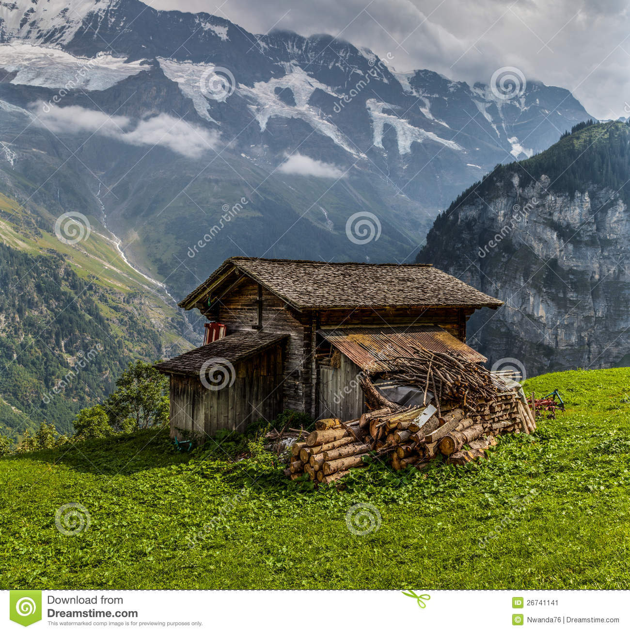 wooden hut near mountain - photo #15