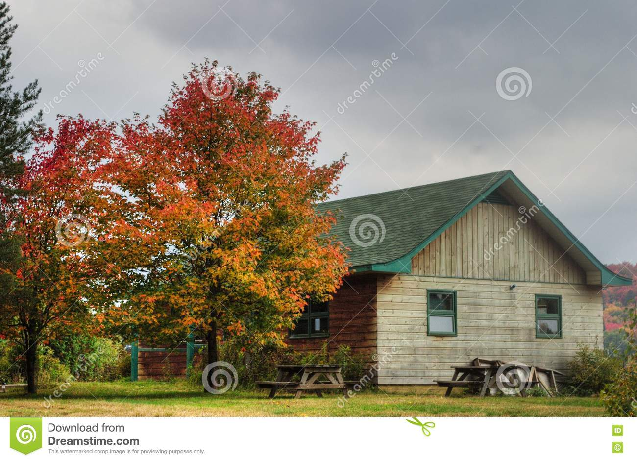 Wooden hut in Fall