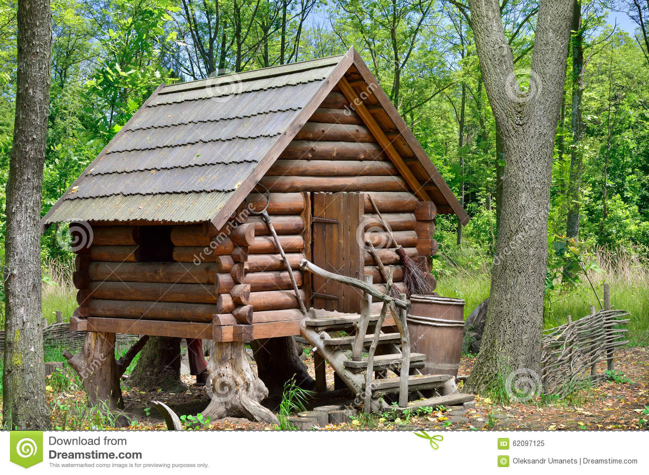 Wooden hut in the forest house of witch baba yaga