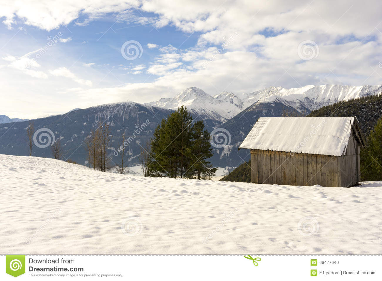 wooden hut near mountain - photo #32