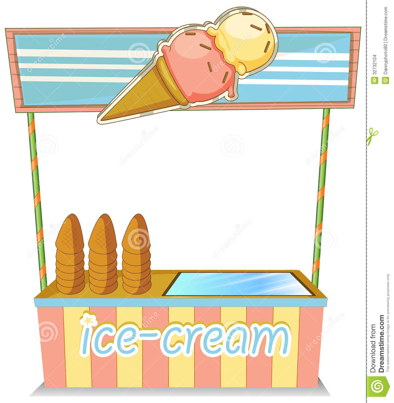 Illustration of a wooden icecream stand on a white background.