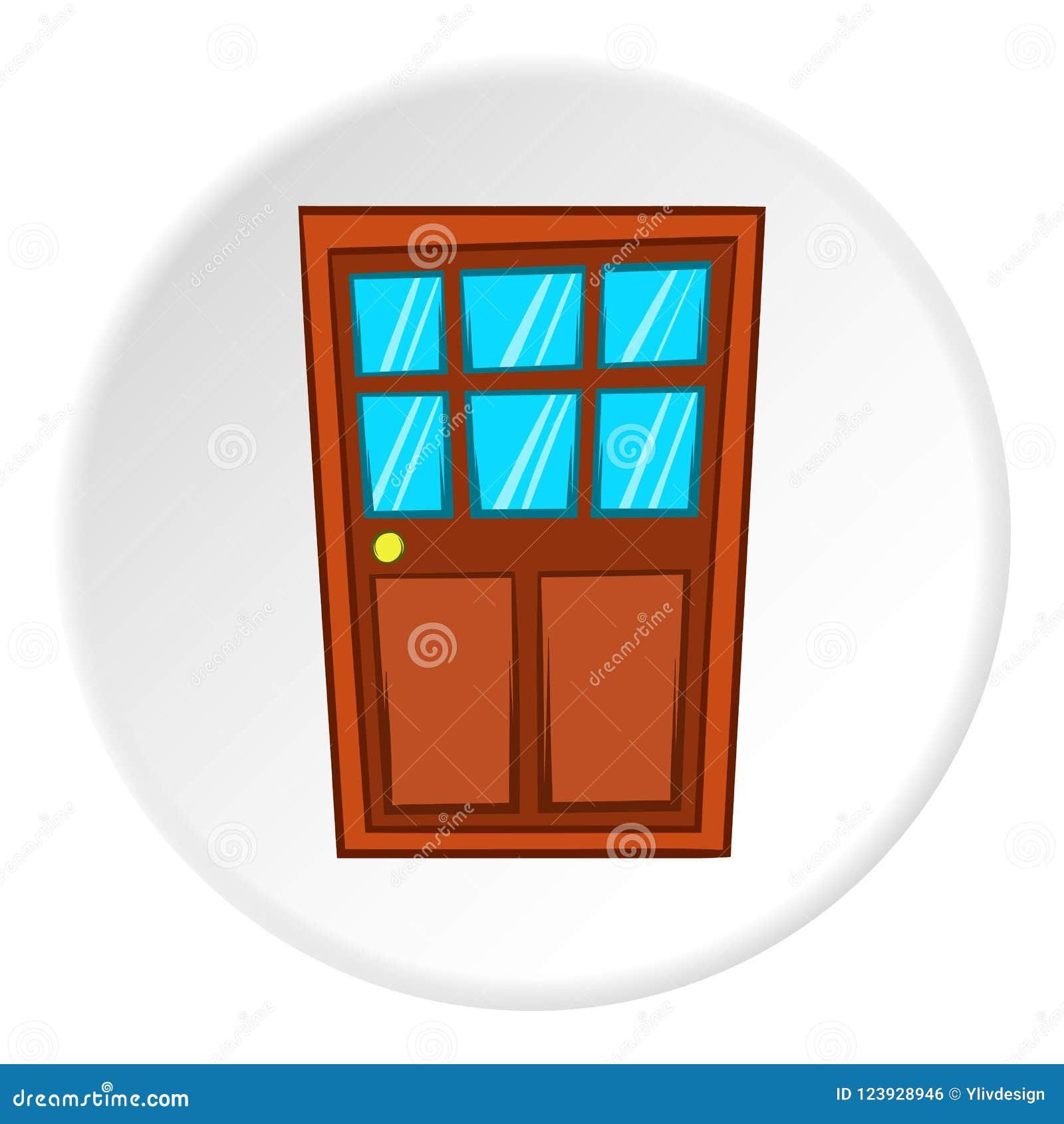 Wooden Interior Door Icon Cartoon Style Stock Illustration