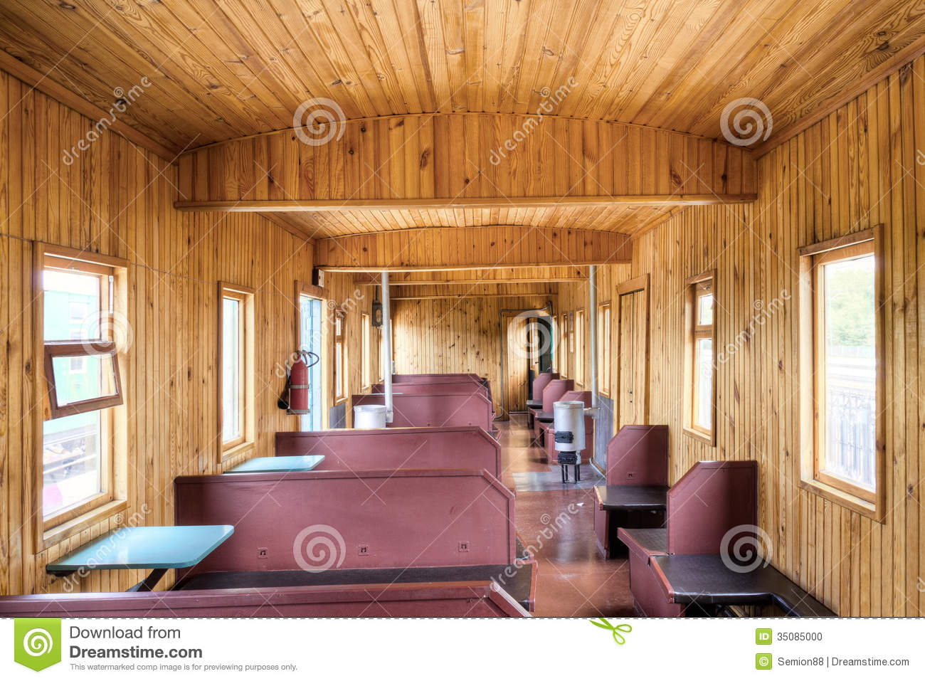 the wooden interior of old russian rail car stock photo image of empty steel 35085000. Black Bedroom Furniture Sets. Home Design Ideas