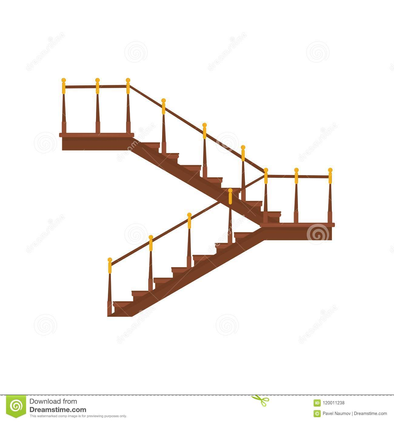 Wooden Interior Staircases With Handrails. Half Pace Stairs With Golden  Decoration, Modern Building
