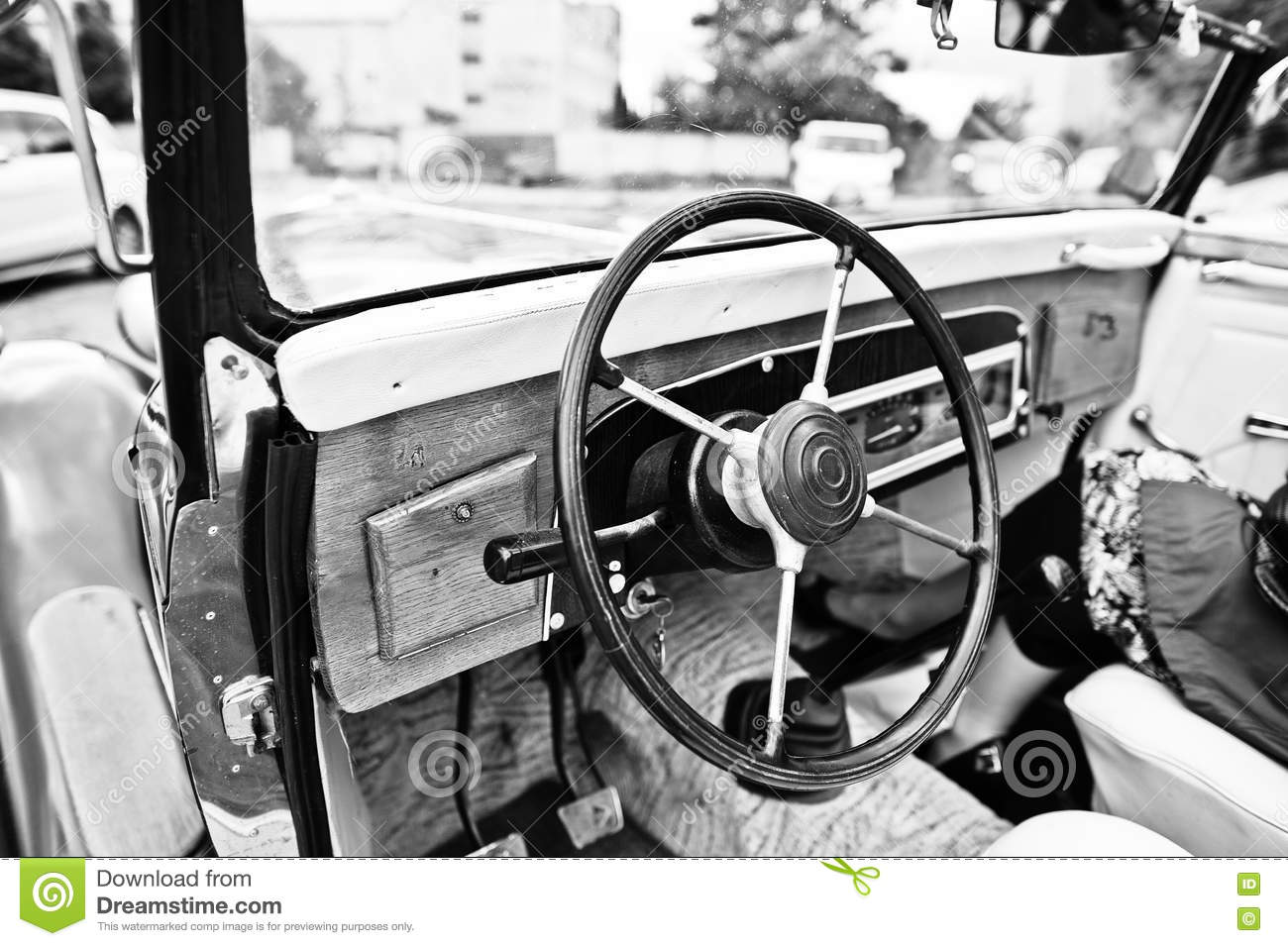 wooden interior and steering wheel on old vintage retro car bla stock image image 71879081. Black Bedroom Furniture Sets. Home Design Ideas