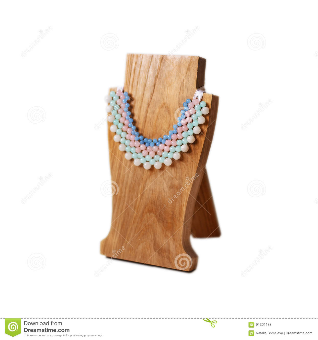 Wooden Jewelry Stand Stock Image Image Of Handmade Elegance 91301173