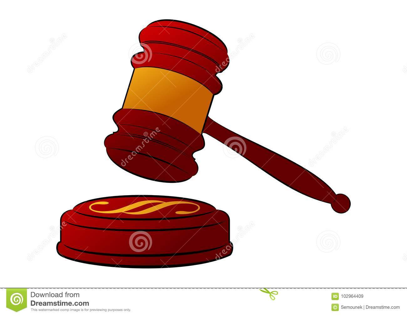 Wooden Judges Gavel With A Golden Stripe Stock Vector