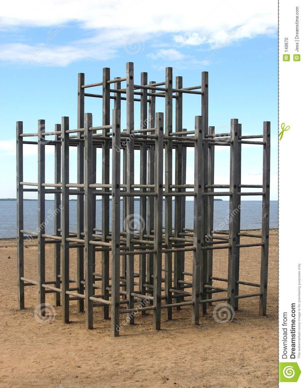 Wooden jungle gym on beach stock photo image 149670 for Wooden jungle gym plans