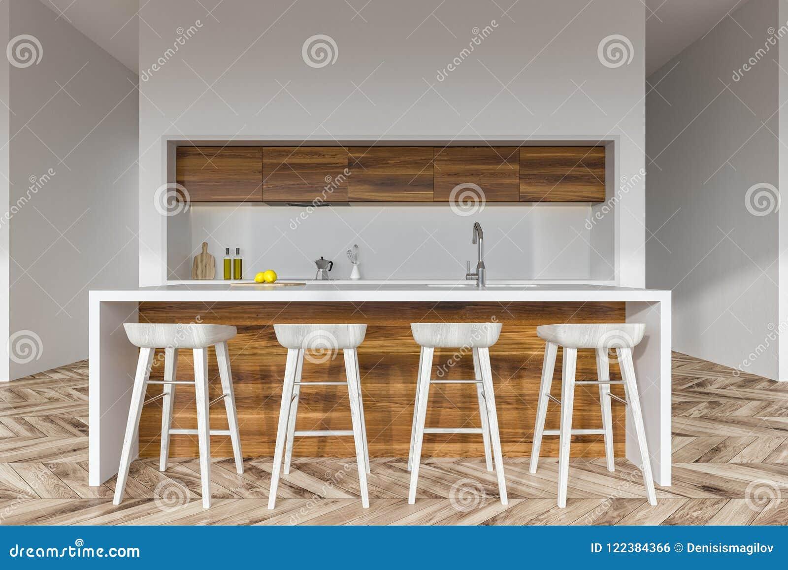 Wooden Kitchen Bar With Stools Stock Illustration