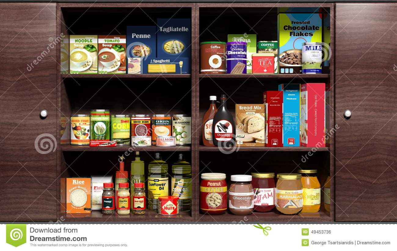 wooden kitchen cabinet full of food stock illustration kitchen pantry cabinet deals on 1001 blocks