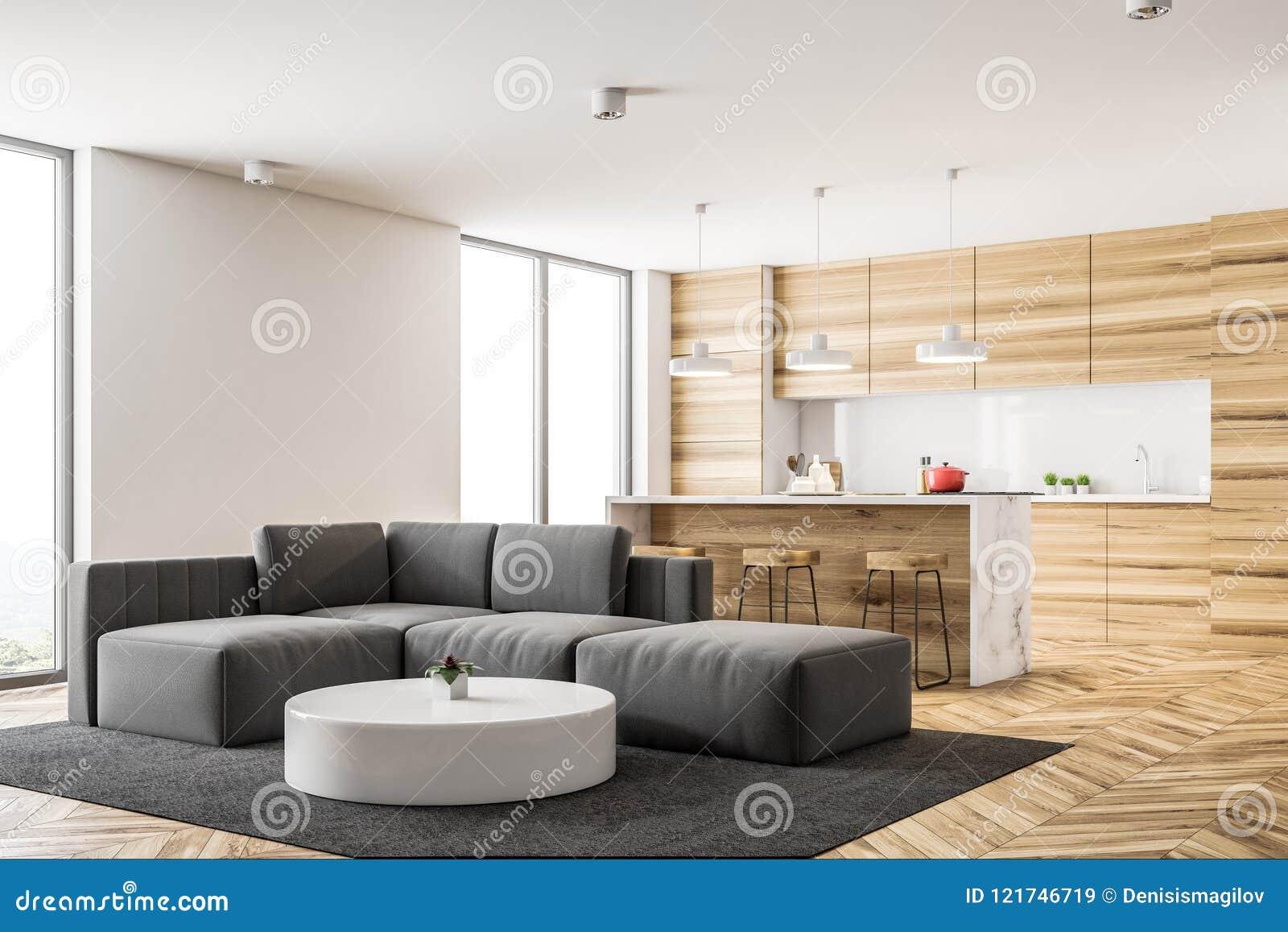 Picture of: Wooden Kitchen And Living Room Corner Stock Illustration Illustration Of Floor Mockup 121746719