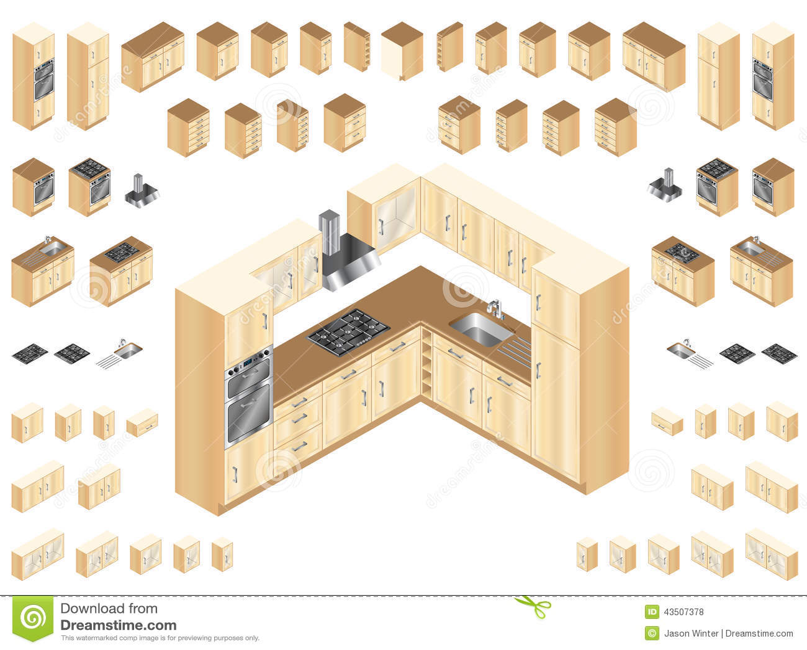 Wooden Kitchen Elements Stock Vector Image Of Extractor 43507378