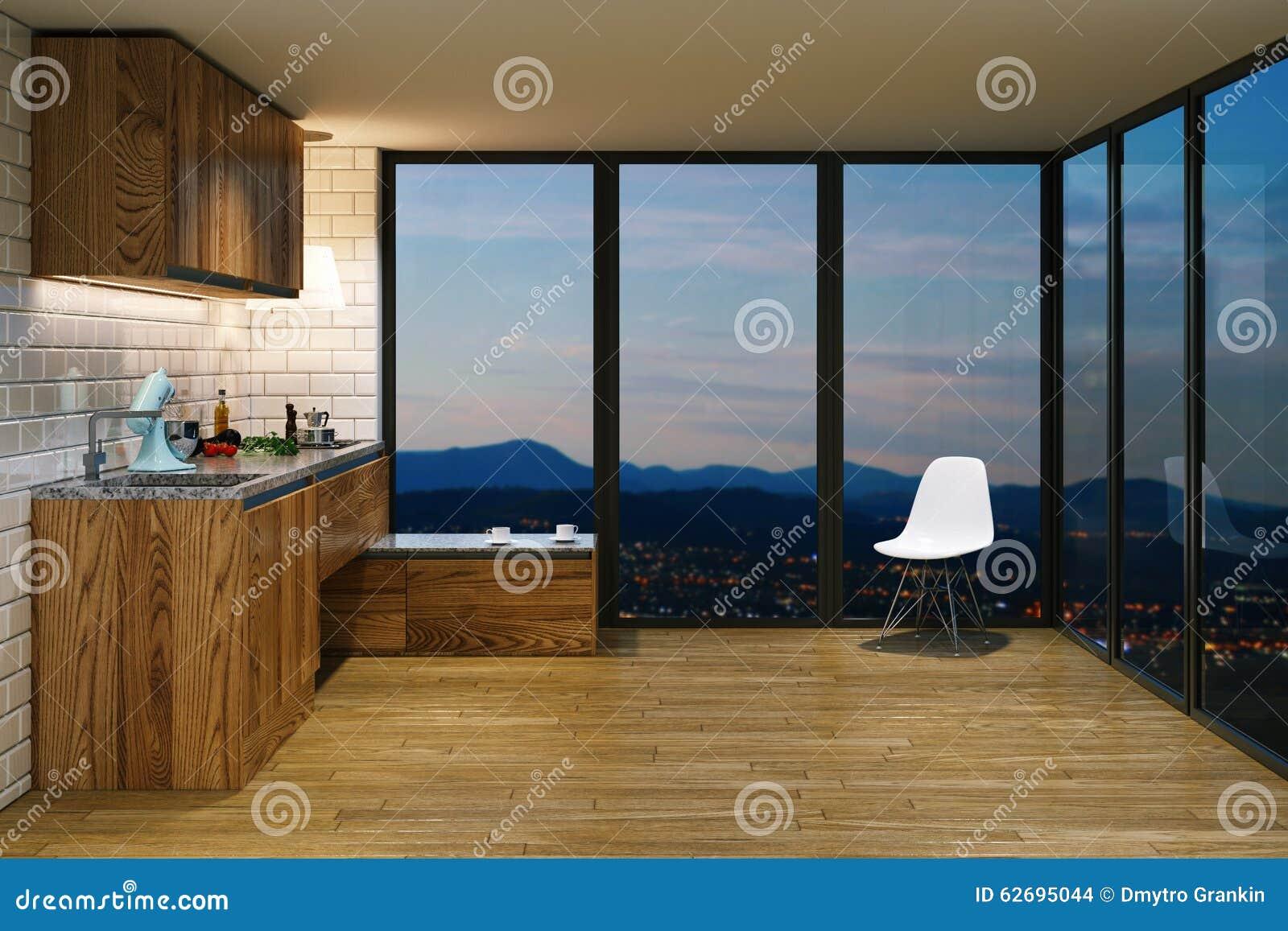 Wooden kitchen furniture in modern interior evening view from b