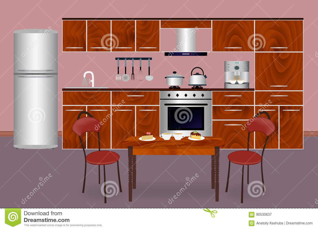 Interior wooden shelves free vector - Wooden Kitchen Interior Banner For Your Web Design Housewife Workplace Organization Stock Vector