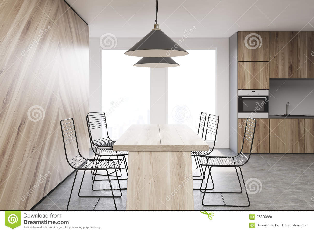 Wooden Kitchen Interior, Side View Stock Illustration - Illustration ...
