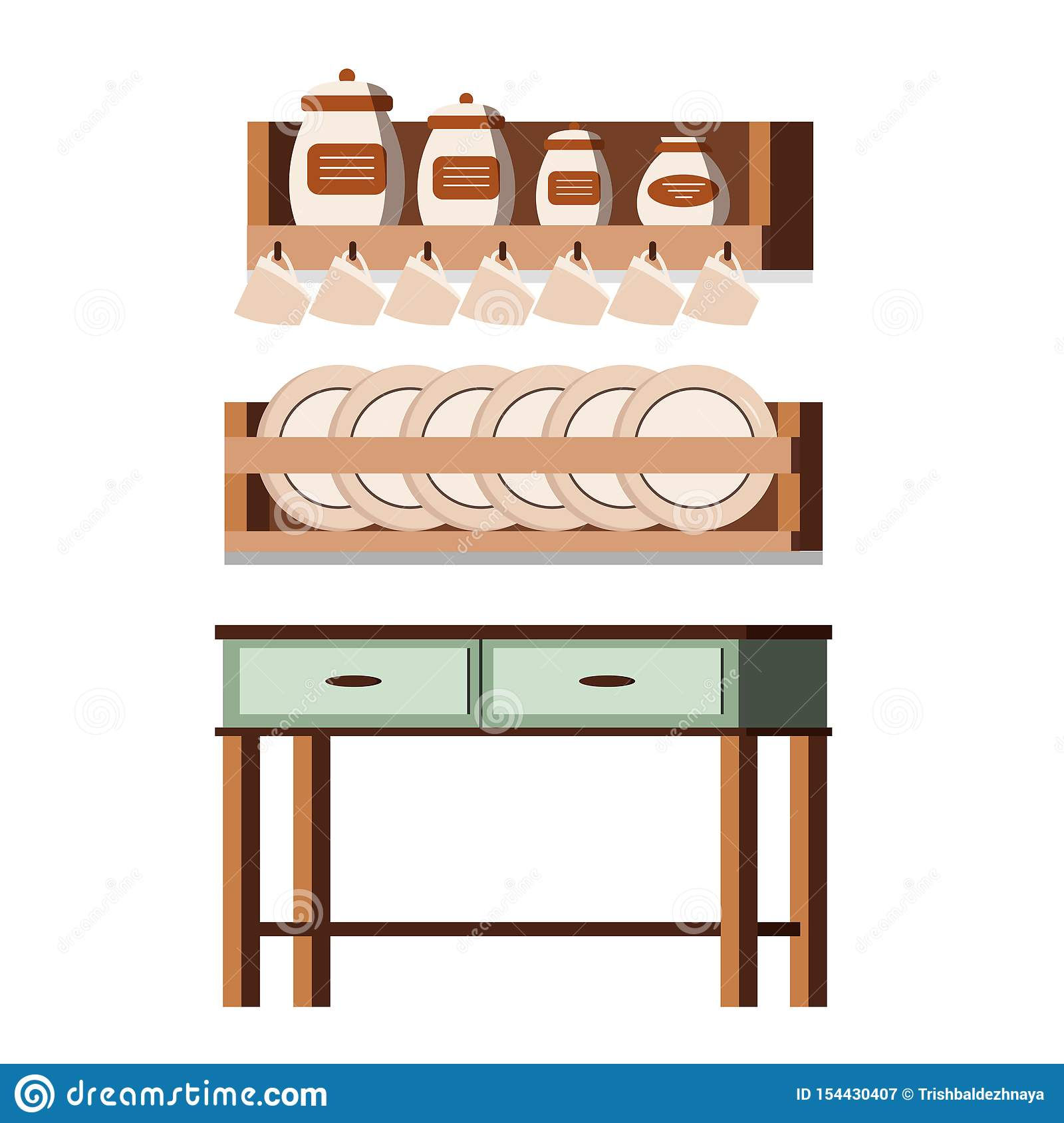 Wooden kitchen rustic furniture interior scene isolated on white background: shelves with jars, cups, plates, table, cans