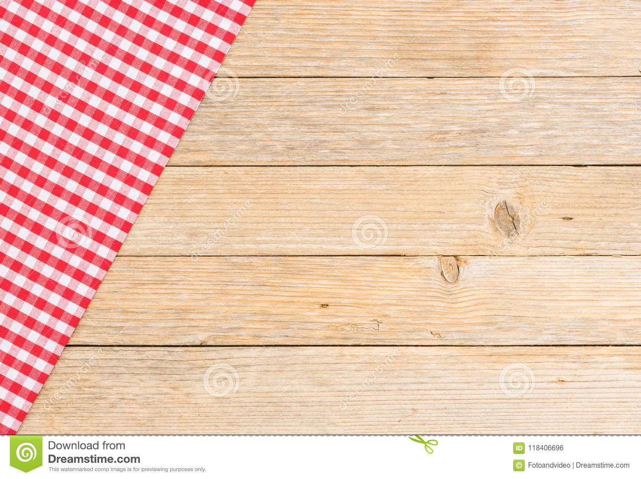 Wooden Kitchen Table Top Background With Red Rustic Tablecloth ...