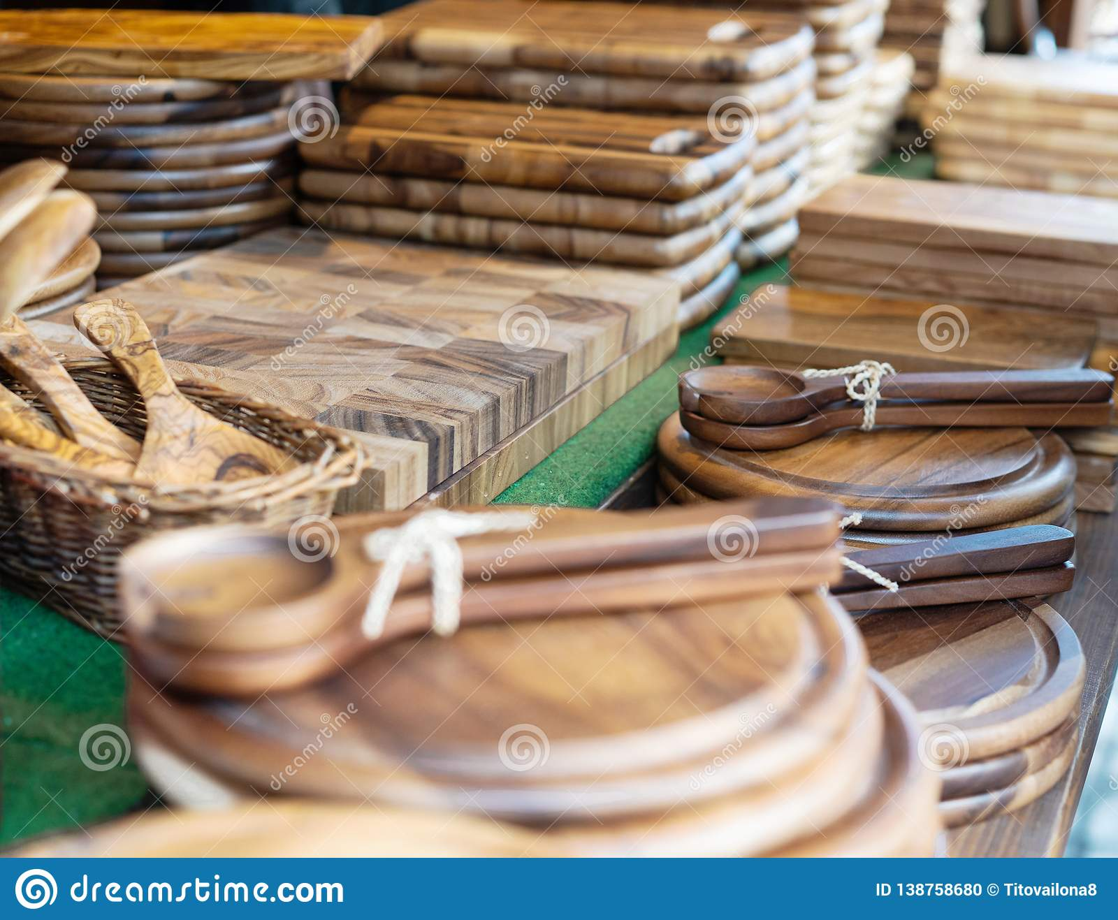 Wooden kitchenware on the counter at the fair