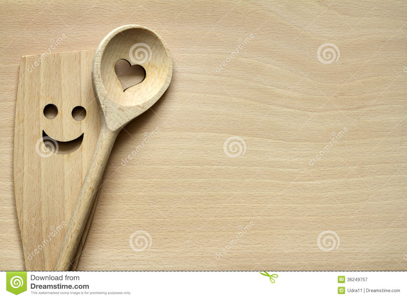 Wooden Kitchenware On Cutting Board Royalty Free Stock