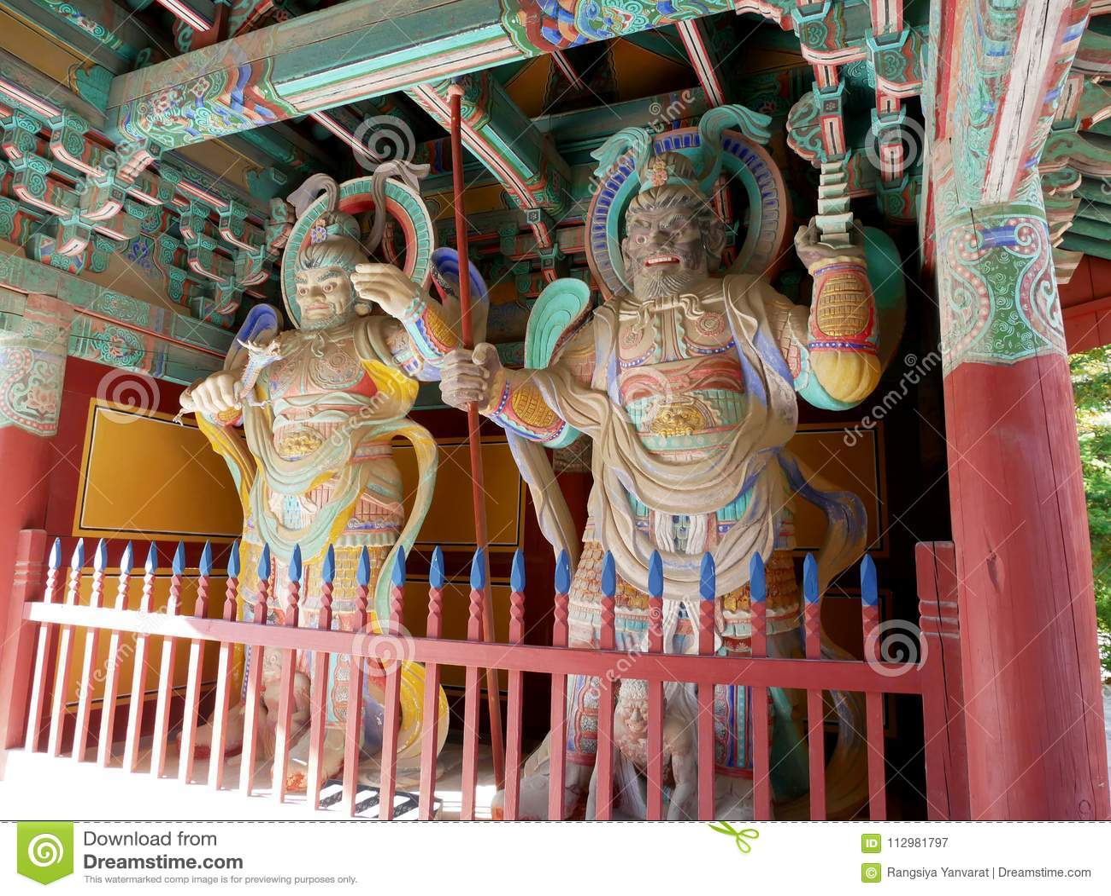 Wooden korean guardian sculptures before entrance Bulguksa Temple