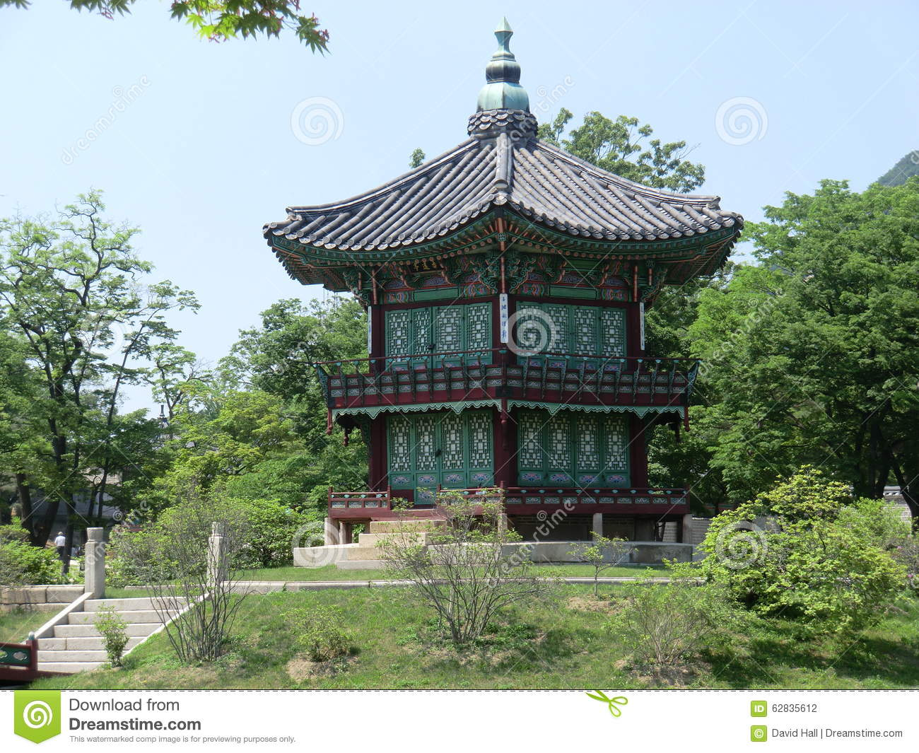Wooden korean pagoda style building stock photo image for Pagoda house plans