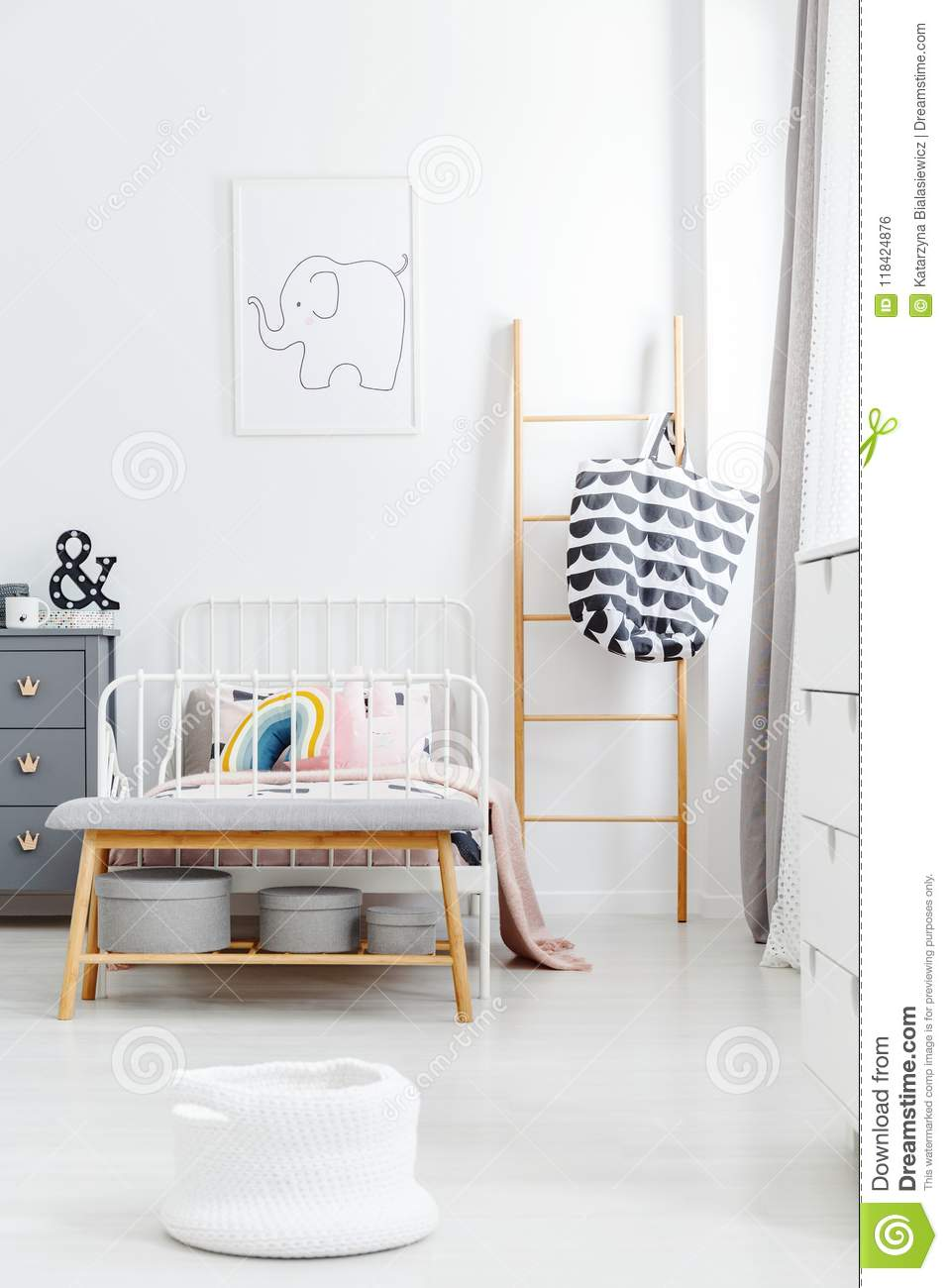 Wooden Ladder And Bench Near White Bed In Kid S Bedroom Interior Stock Photo Image Of Colorful Pastel 118424876