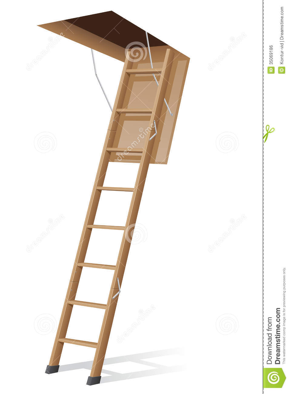 Wooden Ladder To The Attic Vector Illustration Royalty