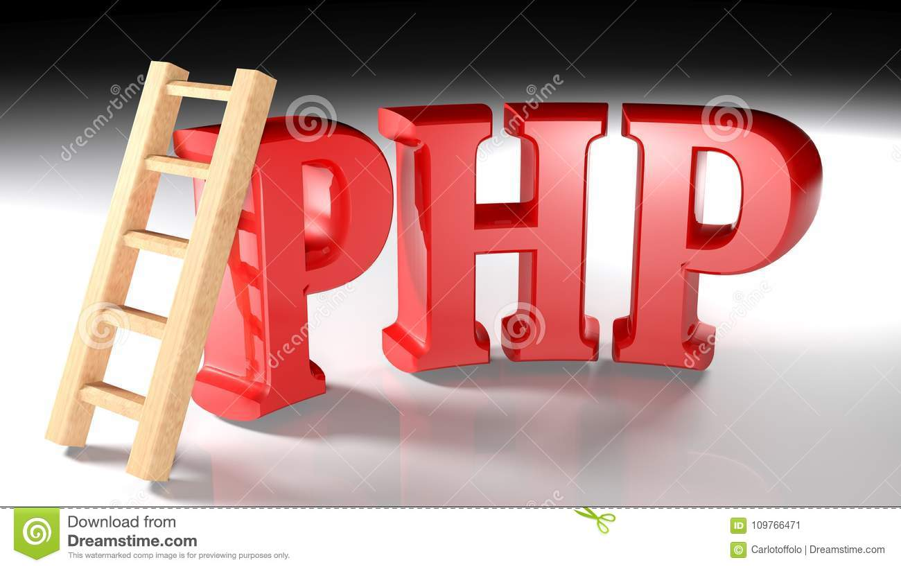 Wooden Ladder At Php Red Write 3d Rendering Stock Illustration
