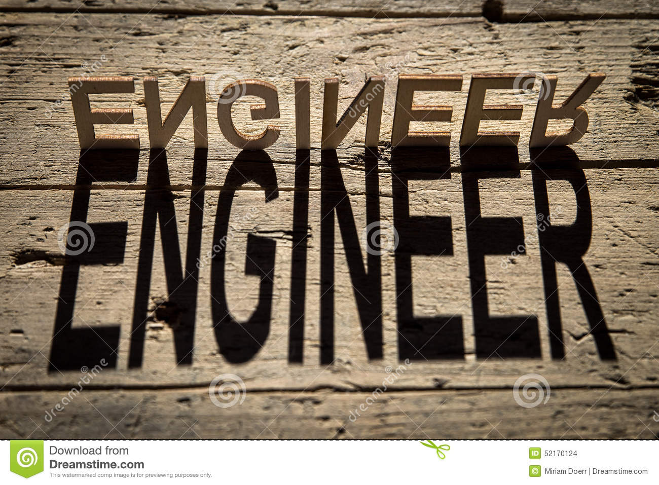wooden letters build the word engineer stock photo image of object