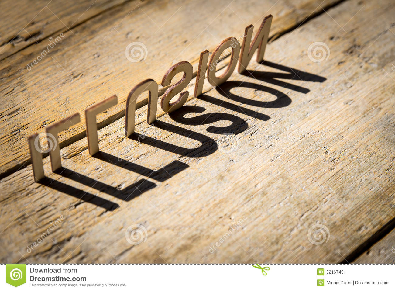 wooden letters build the word illusion stock photo image 52167491. Black Bedroom Furniture Sets. Home Design Ideas