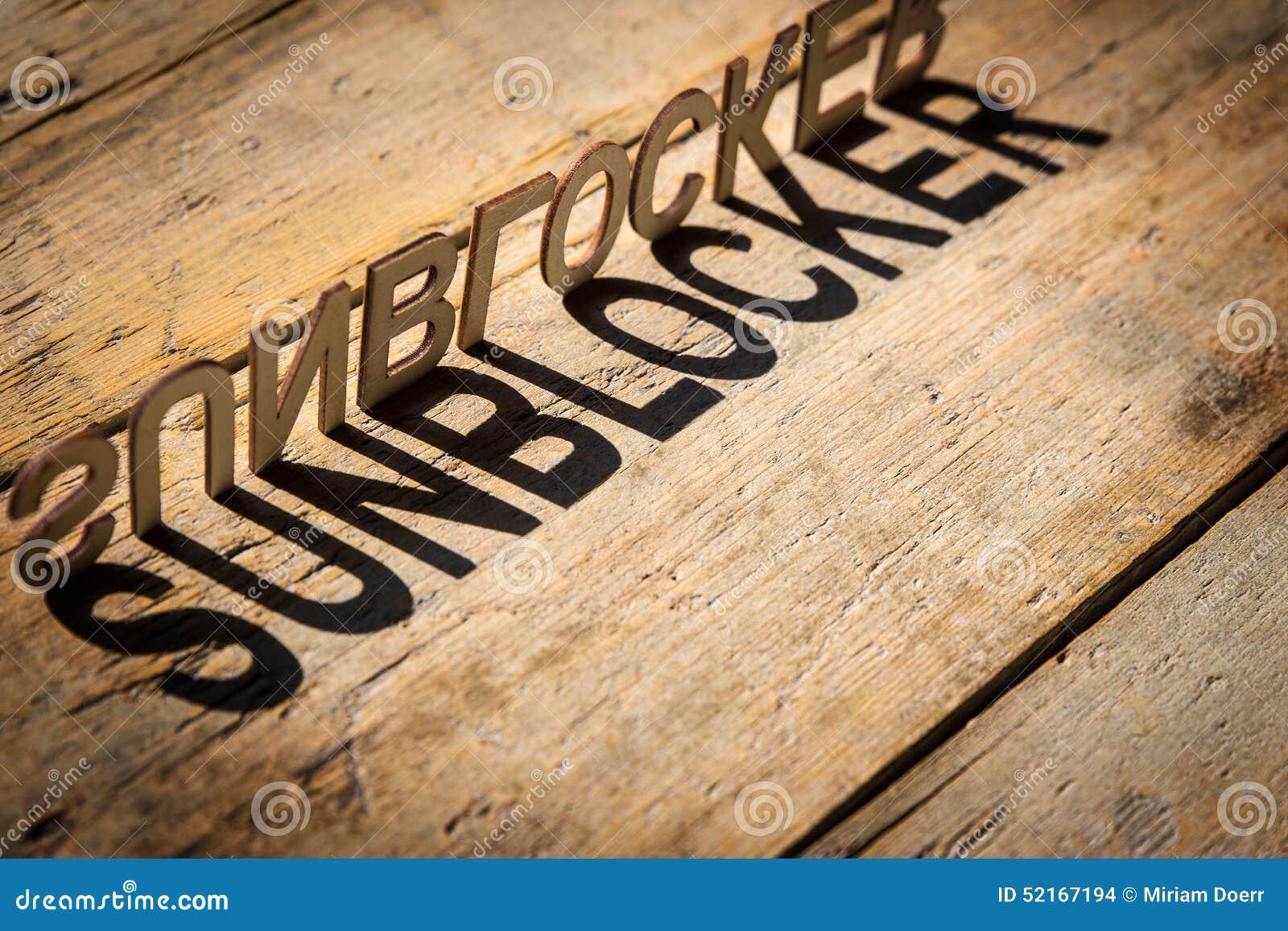 wooden letters build the word sunblocker stock photo image 52167194. Black Bedroom Furniture Sets. Home Design Ideas