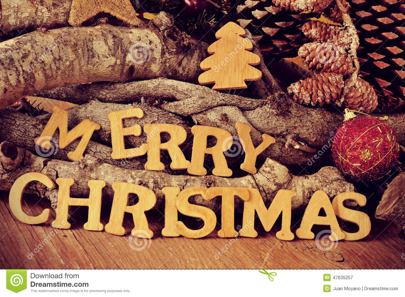 Wooden Letters Forming The Sentence Merry Christmas Stock