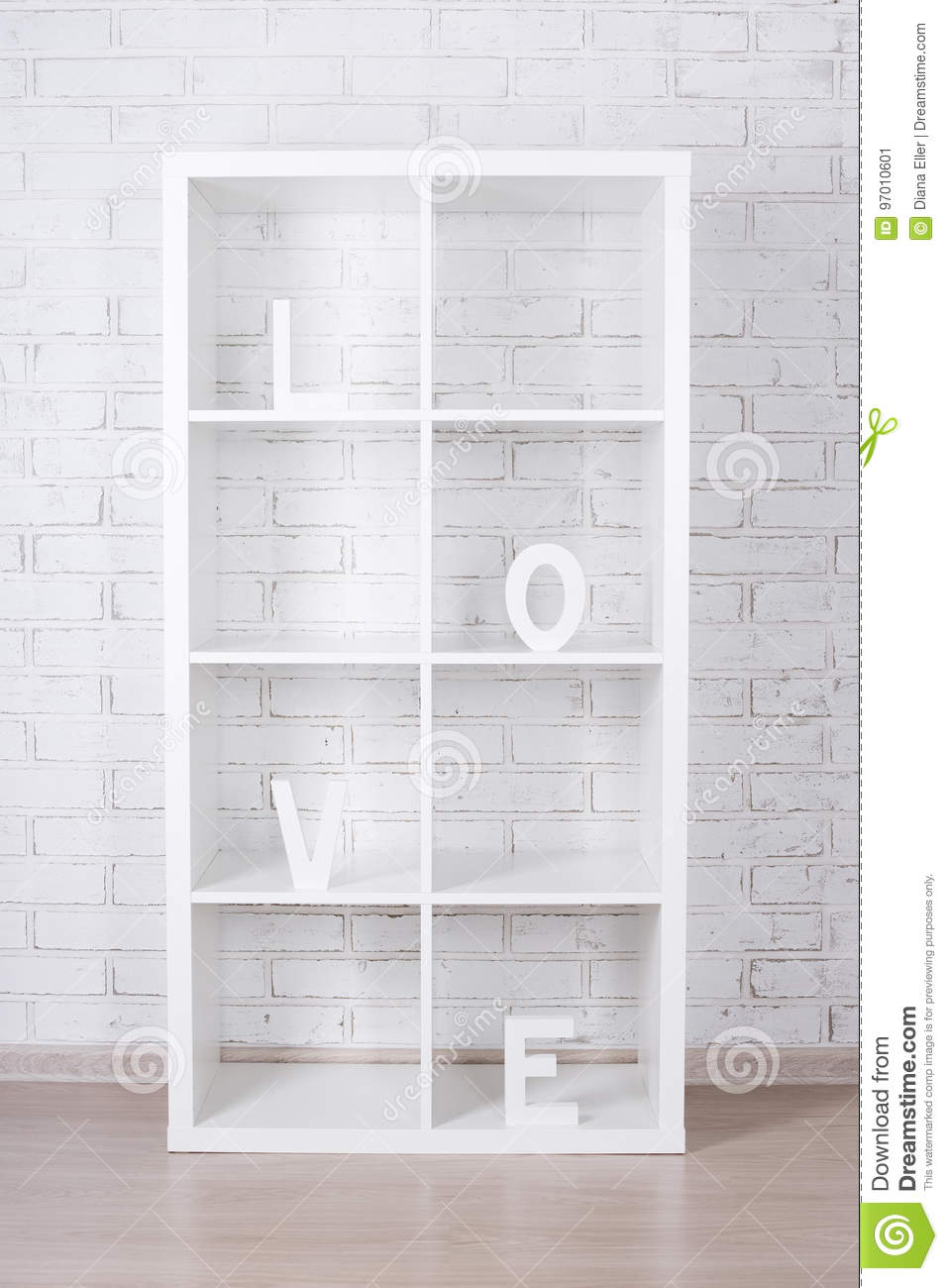 Download Wooden Letters Forming Word LOVE In Modern Shelf Over White Bric Stock Image