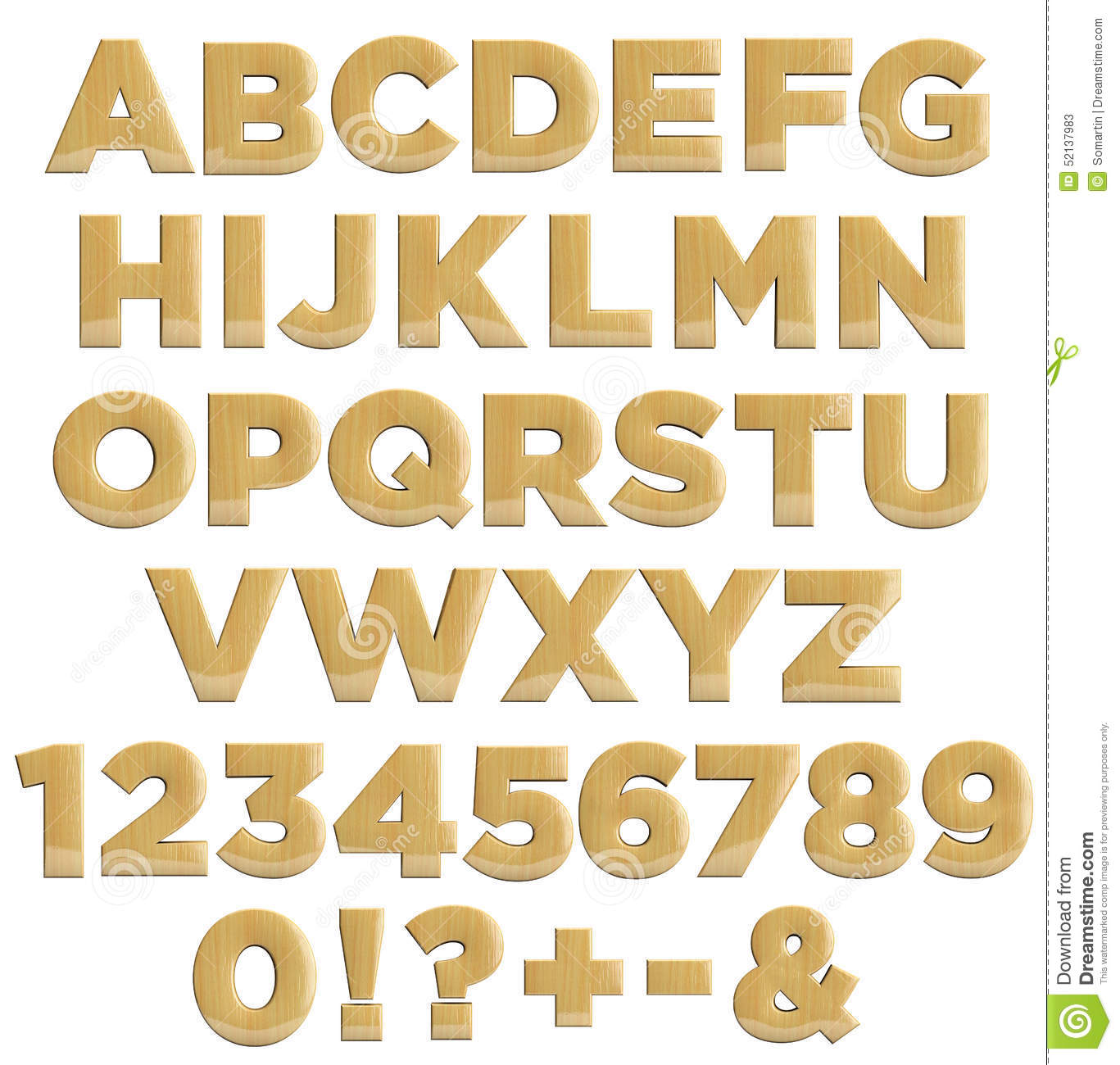 Wooden Letters And Numbers - Wood Alphabet Stock Illustration - Image: 52137983