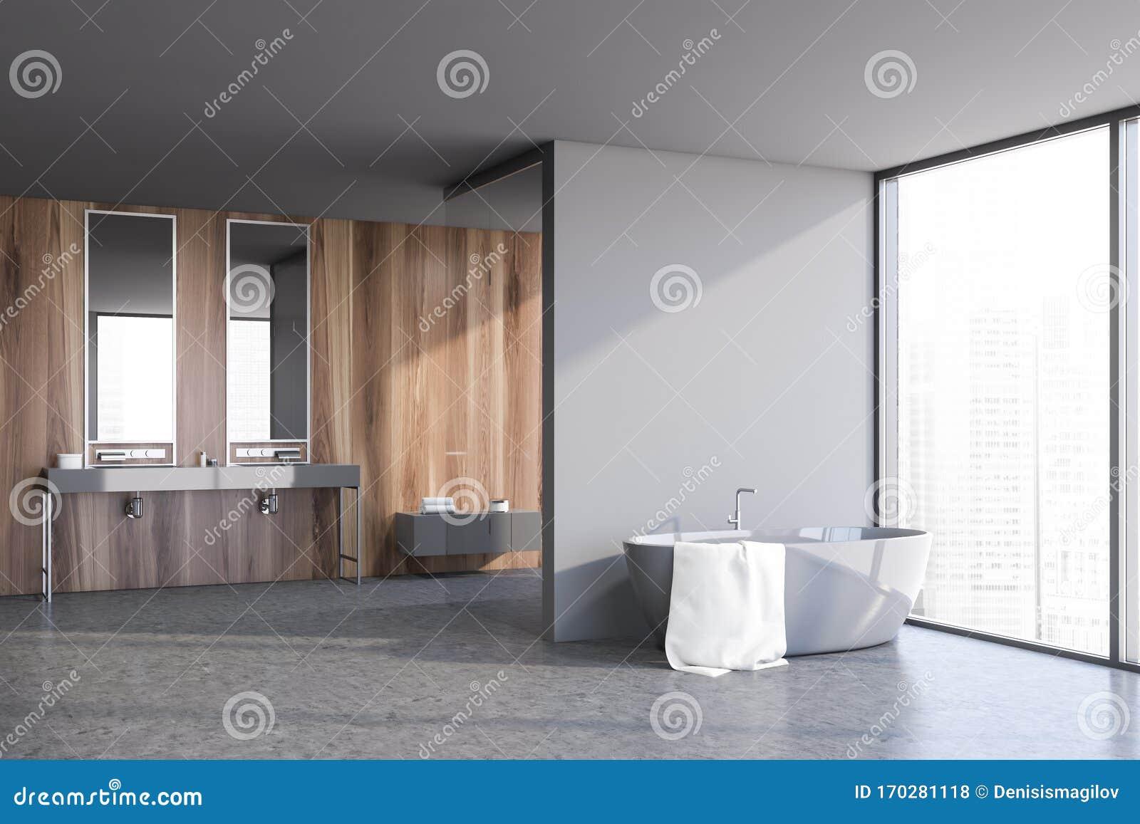 Wooden And Light Gray Bathroom Corner Stock Illustration