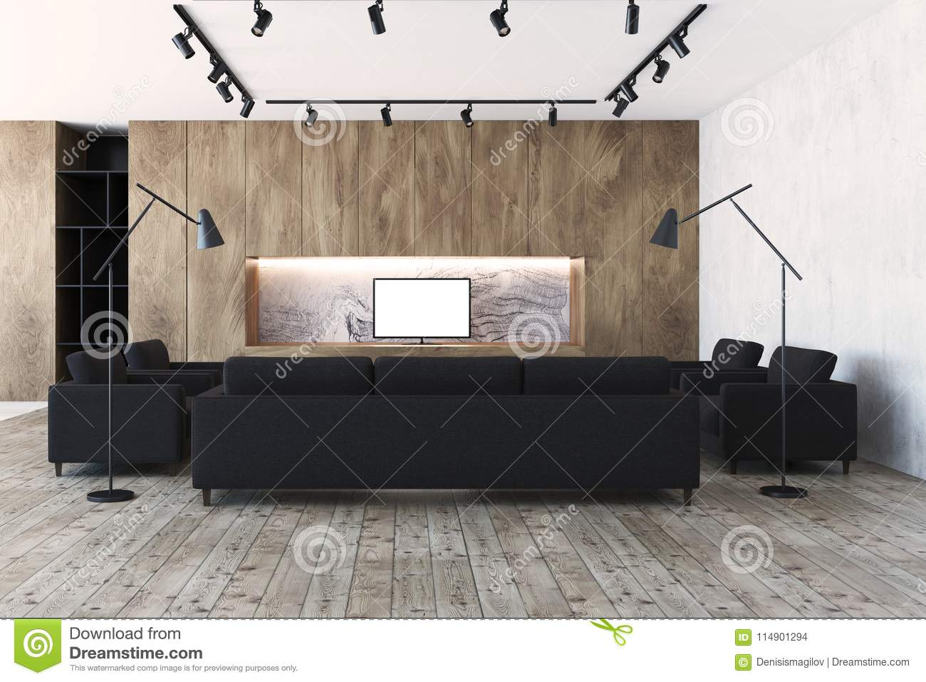 Astonishing Wooden Living Room Black Sofas And A Tv Set Stock Caraccident5 Cool Chair Designs And Ideas Caraccident5Info