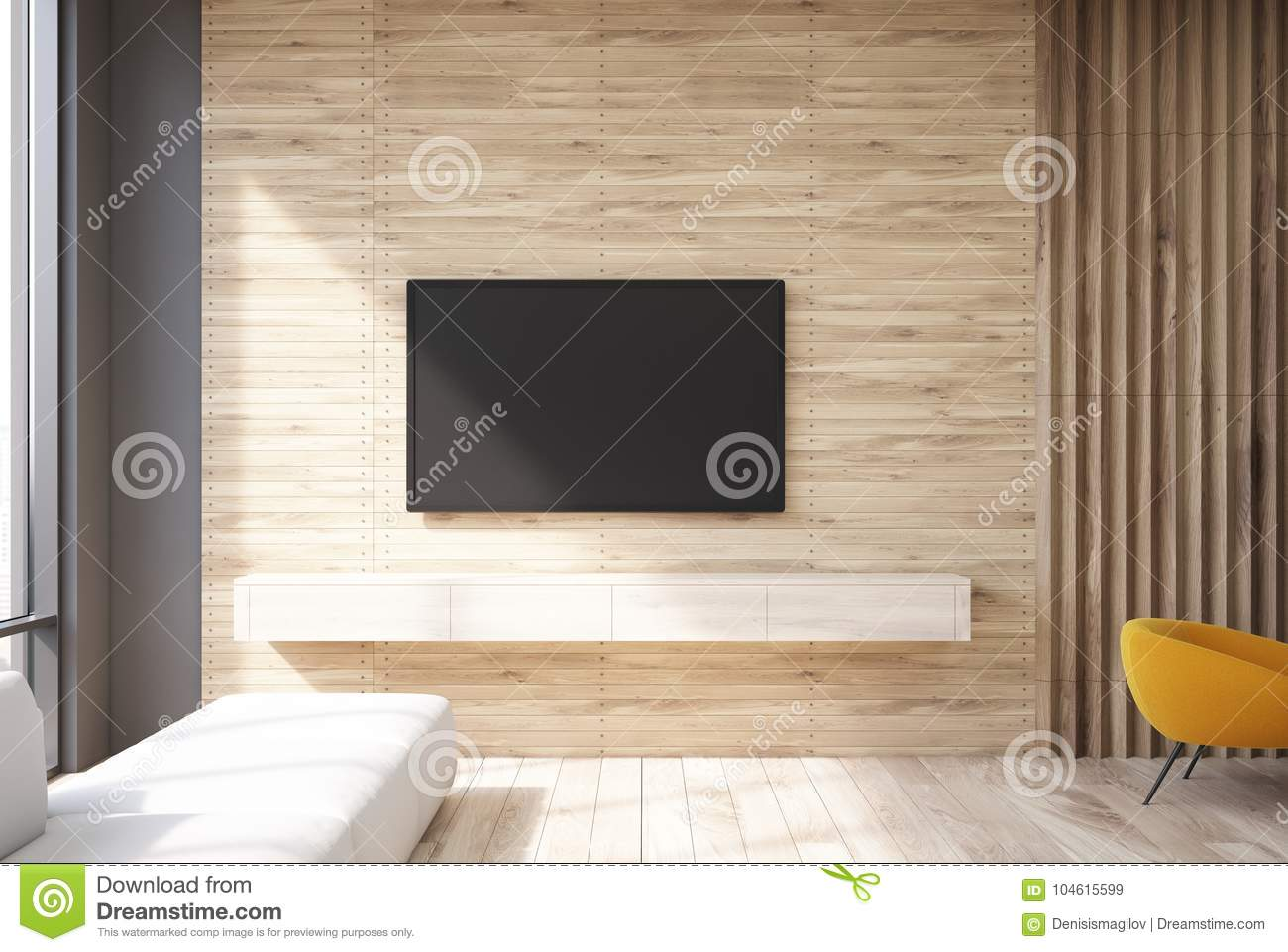 Wooden living room tv set and sofa