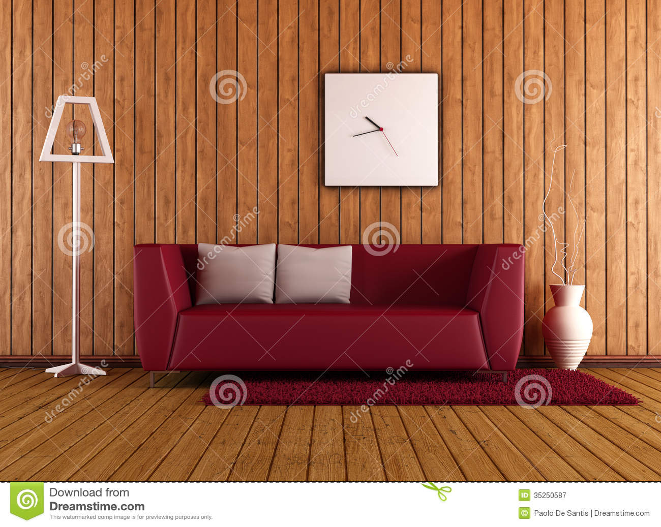 Wooden Living Room With Red Couch Stock Illustration ...