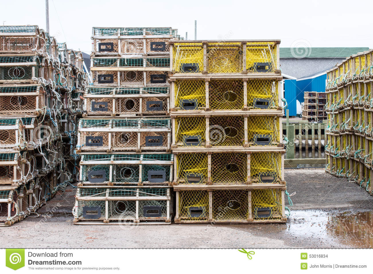 Wooden Lobster Trap On Wharf Stock Photo - Image: 53016834