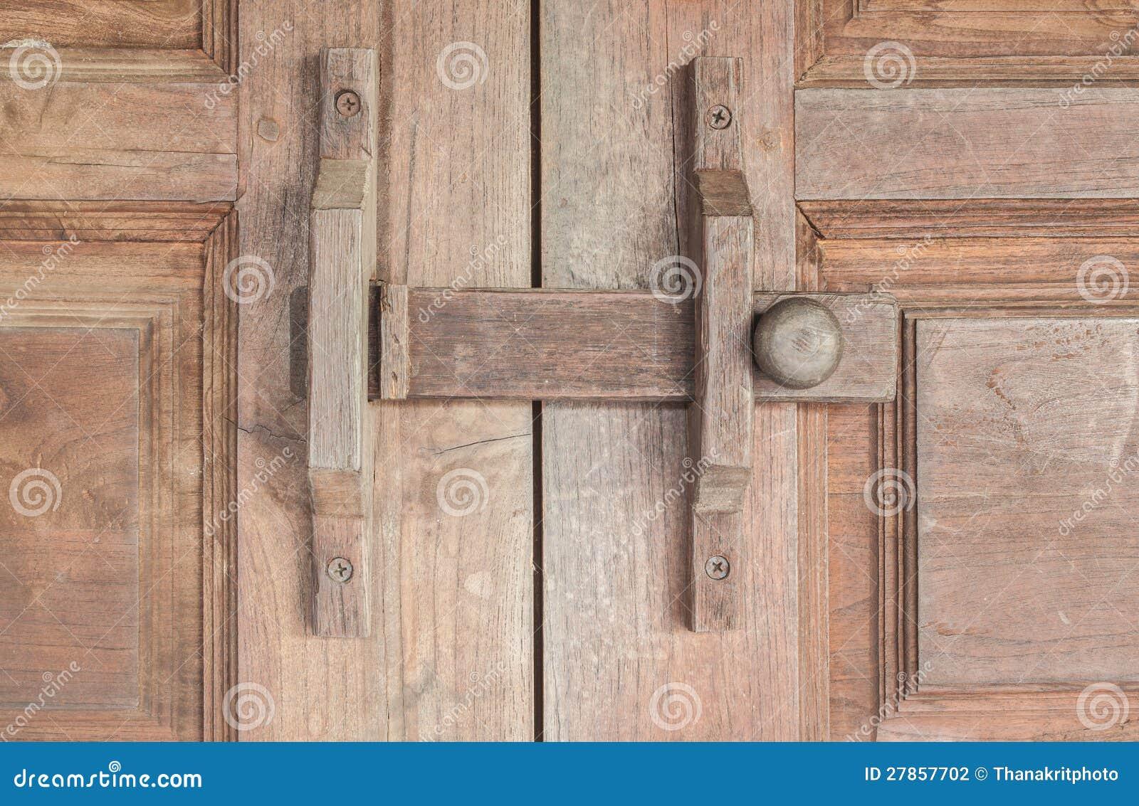 Wooden Lock Latch On Wooden Doors Stock Photo Image