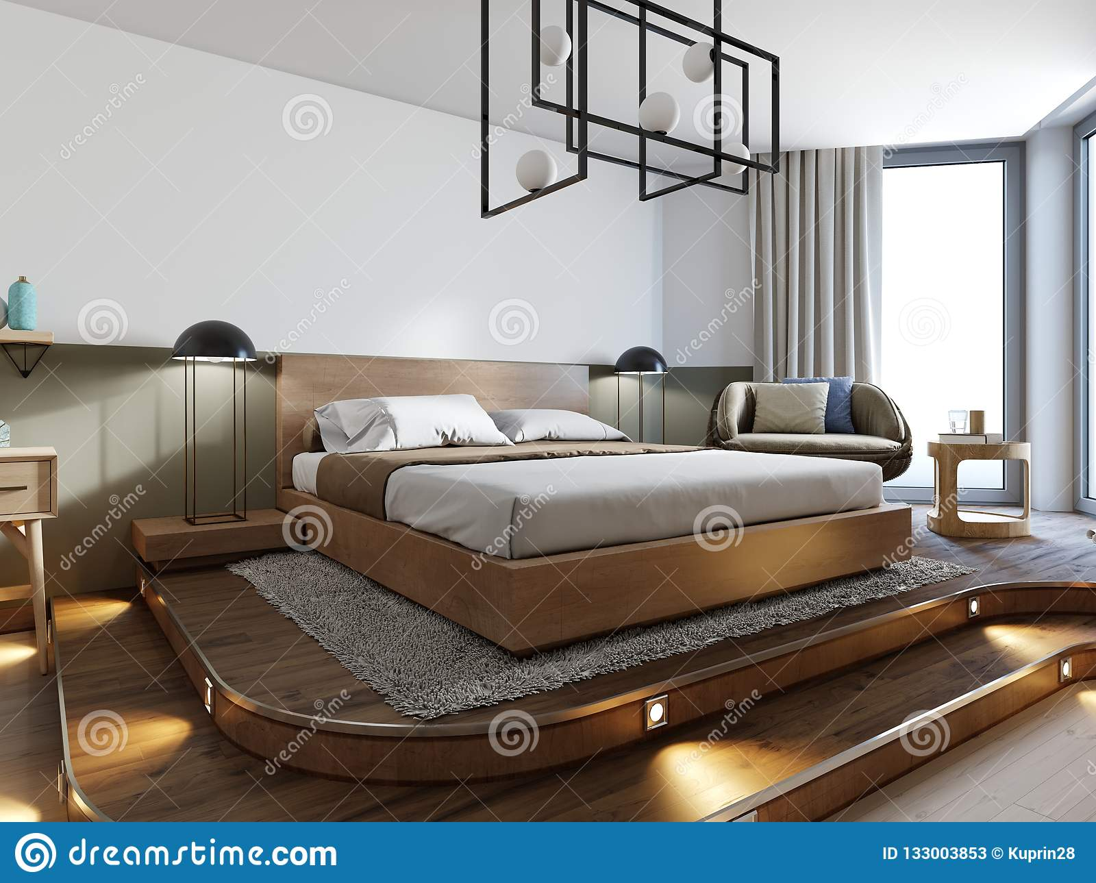 Wooden Loft Style Bedroom With Wooden Podium For Stand Bed Eco