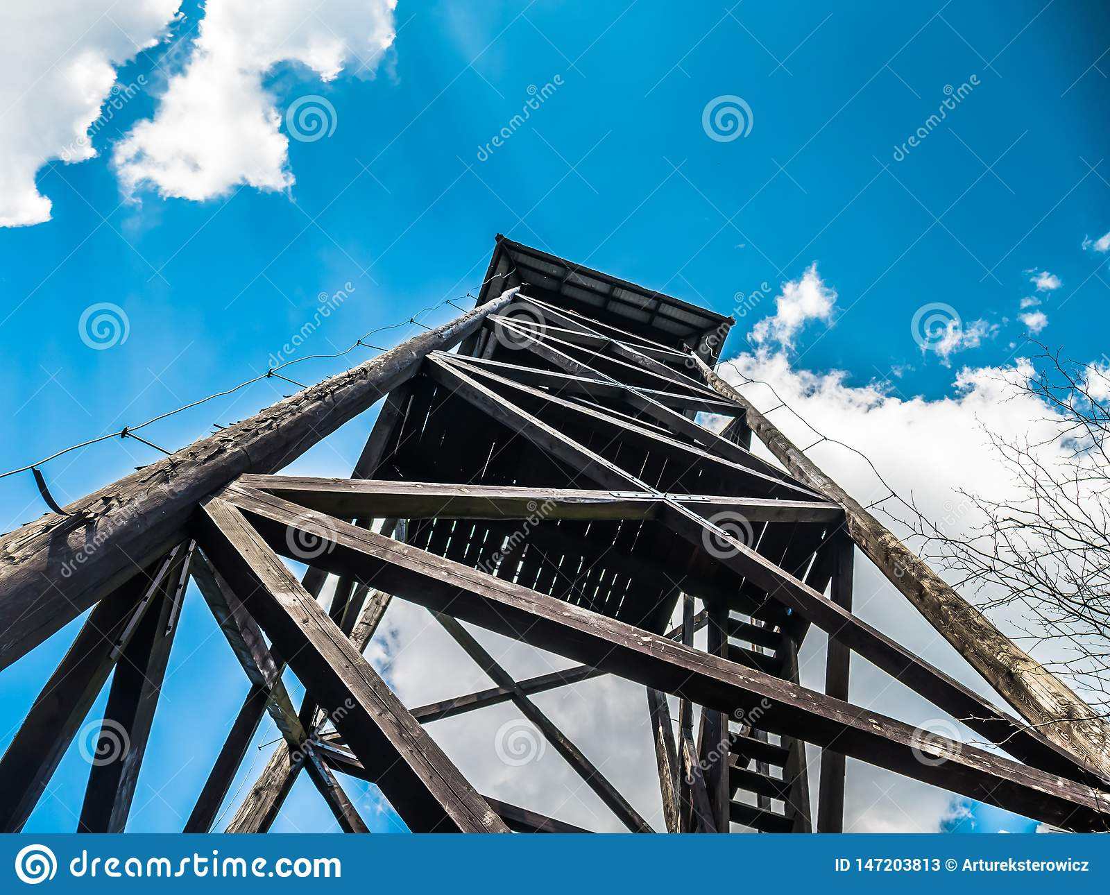 Wooden lookout tower in the mountains