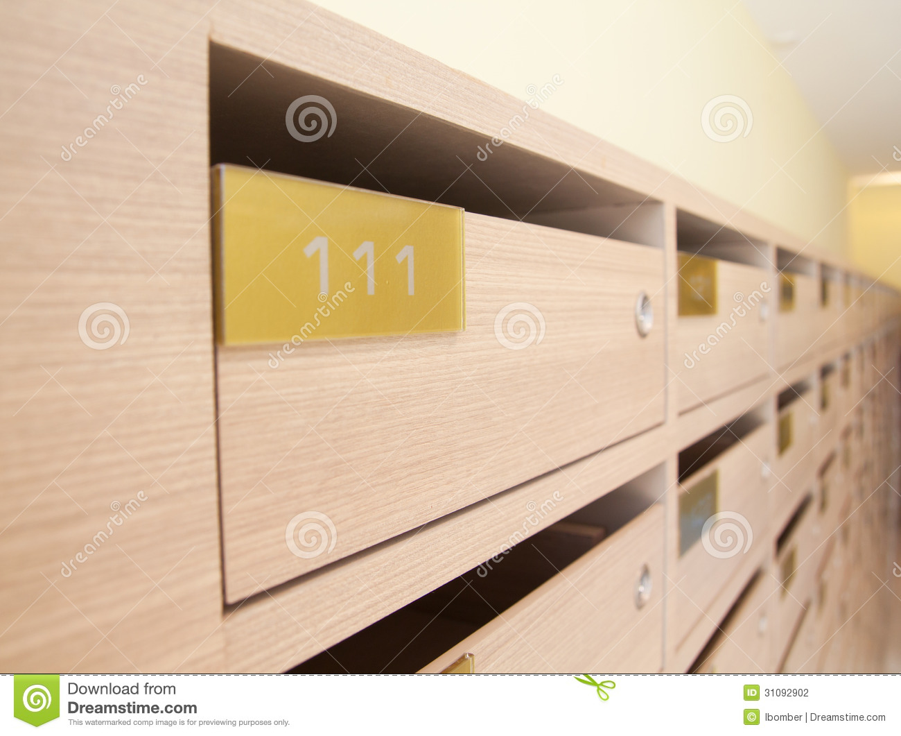 wooden mailbox in apartment stock photography image