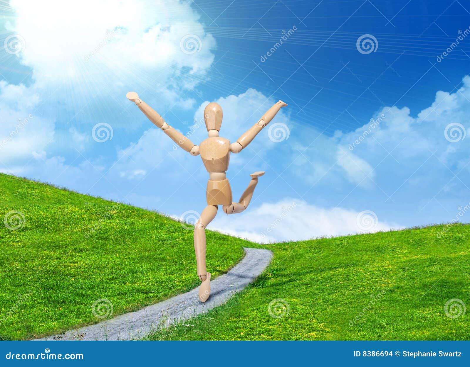 Wooden man running