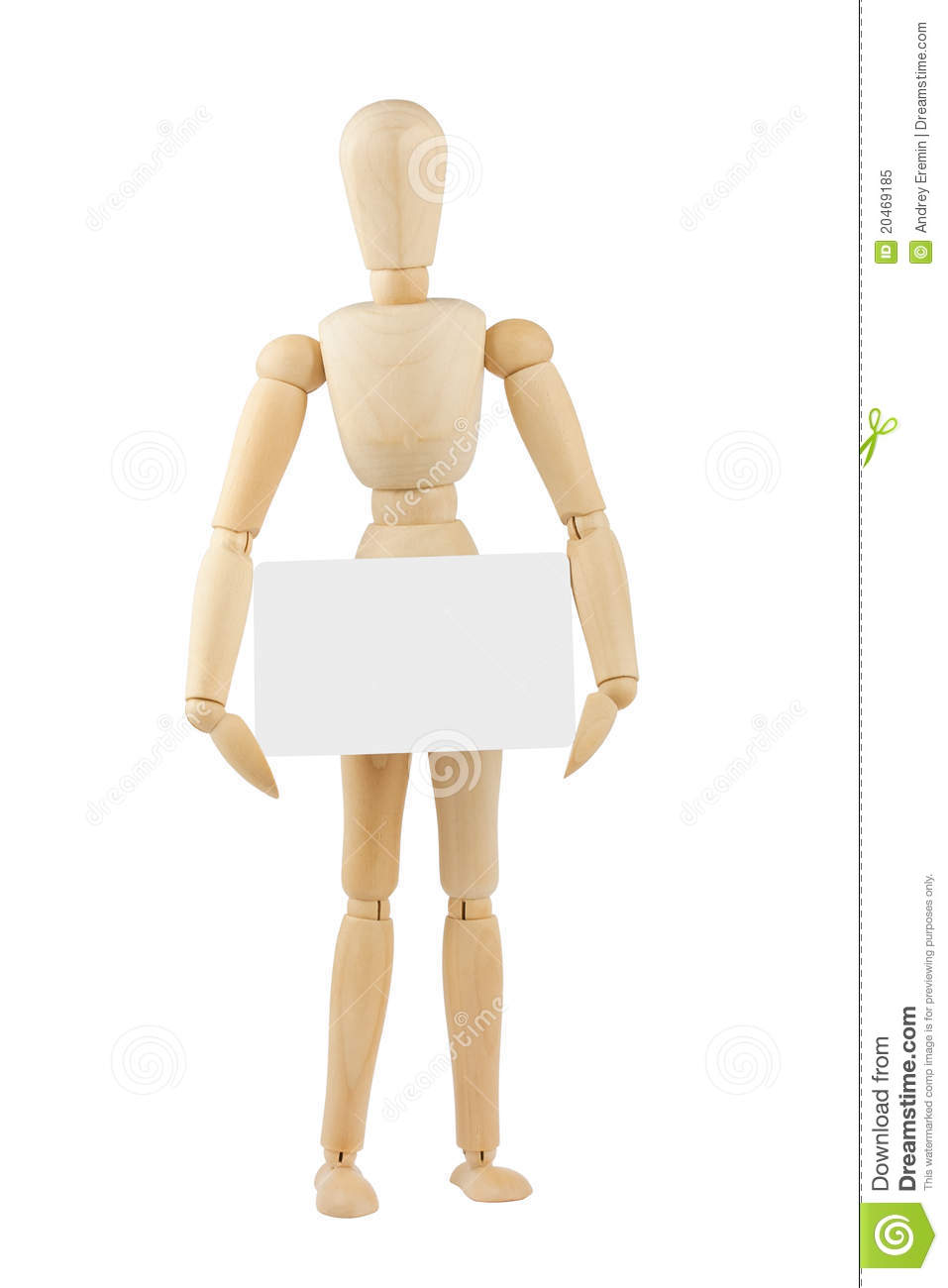 wooden mannequin with blank card stock image image of background