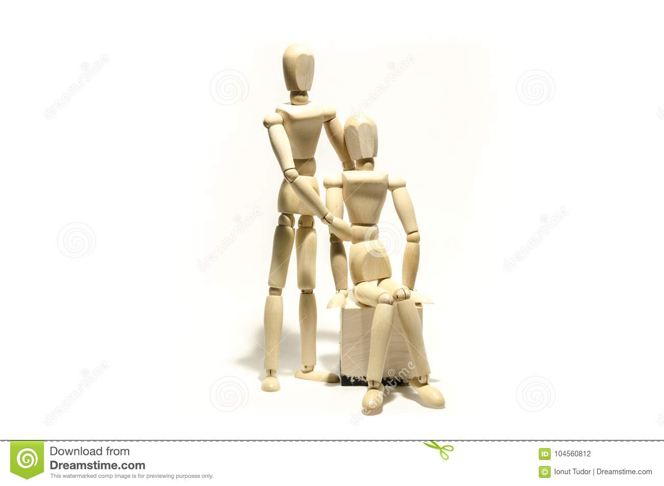 wooden mannequin couple and wooden cube stock photo image of