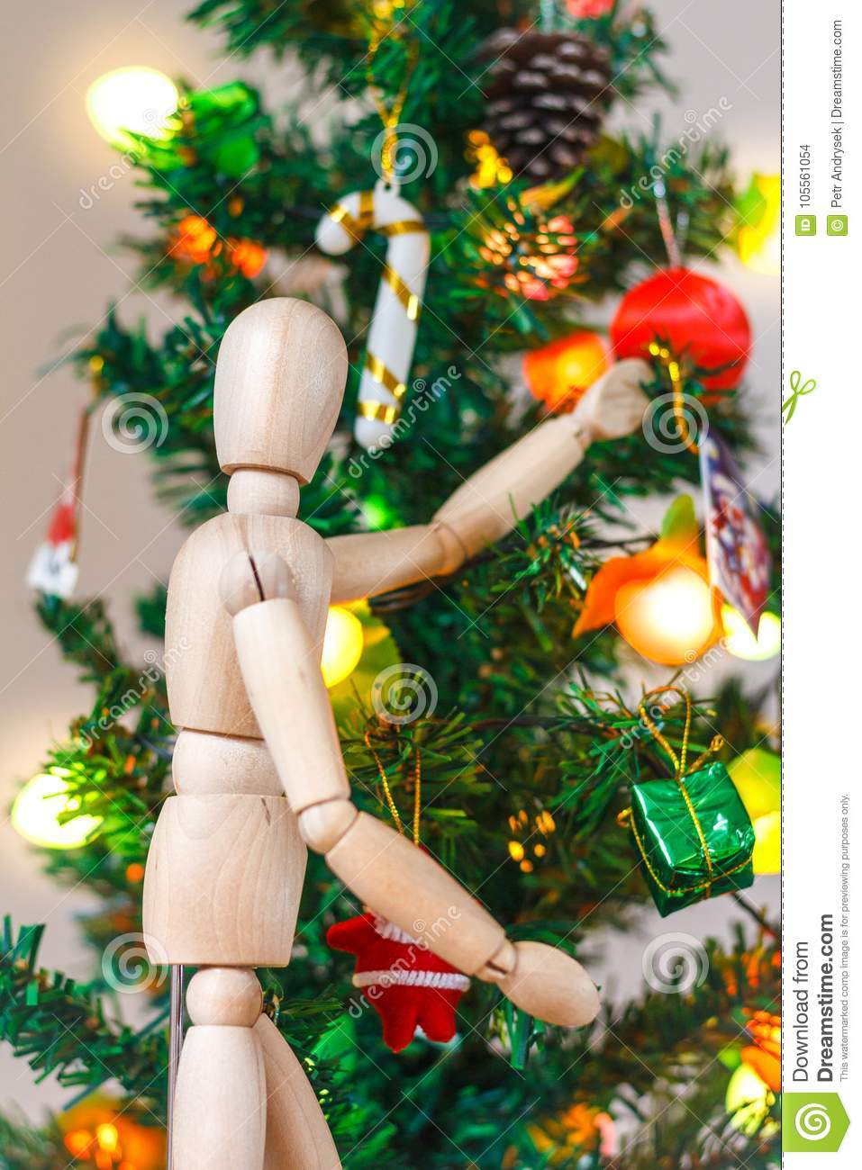 Wooden Mannequin Decorating Xmas Tree Stock Photo Image Of