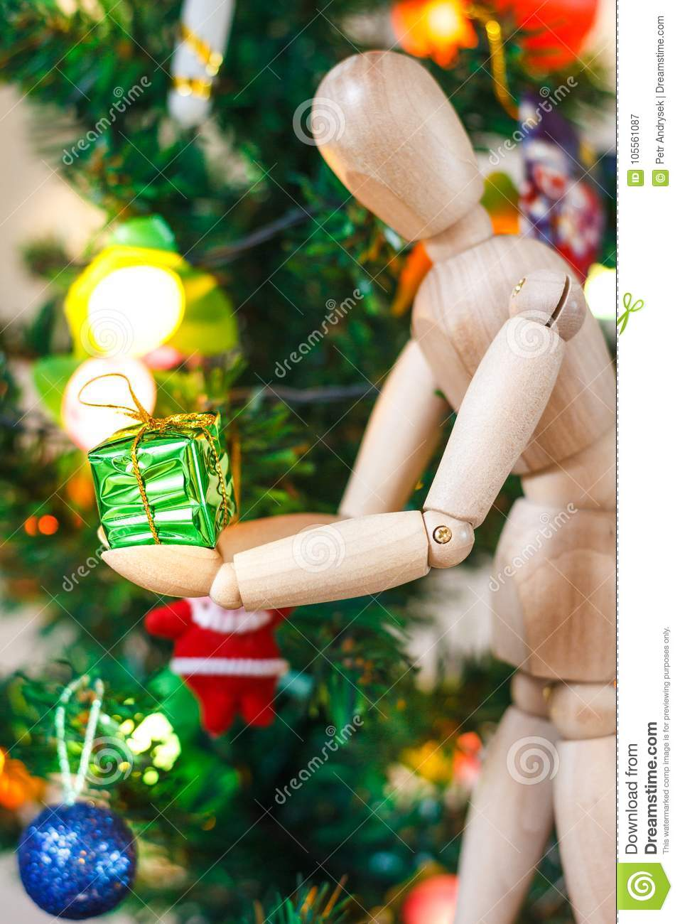 Wooden Mannequin Decorating Xmas Tree Stock Image Image Of Green