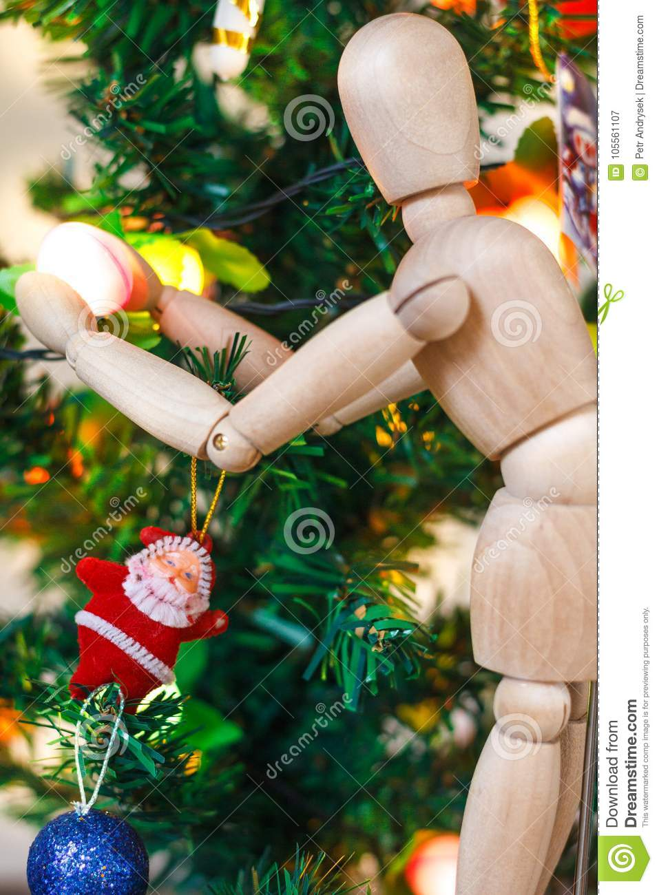 Wooden Mannequin Decorating Xmas Tree Stock Image Image Of