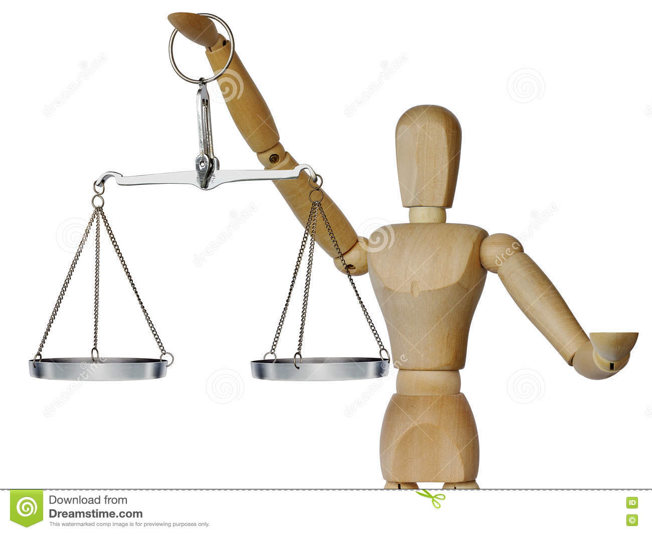 Wooden mannequin and scales
